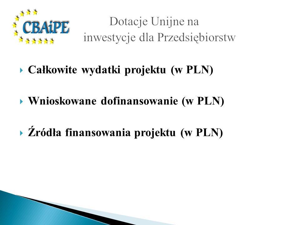 Całkowite wydatki projektu (w PLN) Wnioskowane dofinansowanie (w PLN) Źródła finansowania projektu (w PLN)