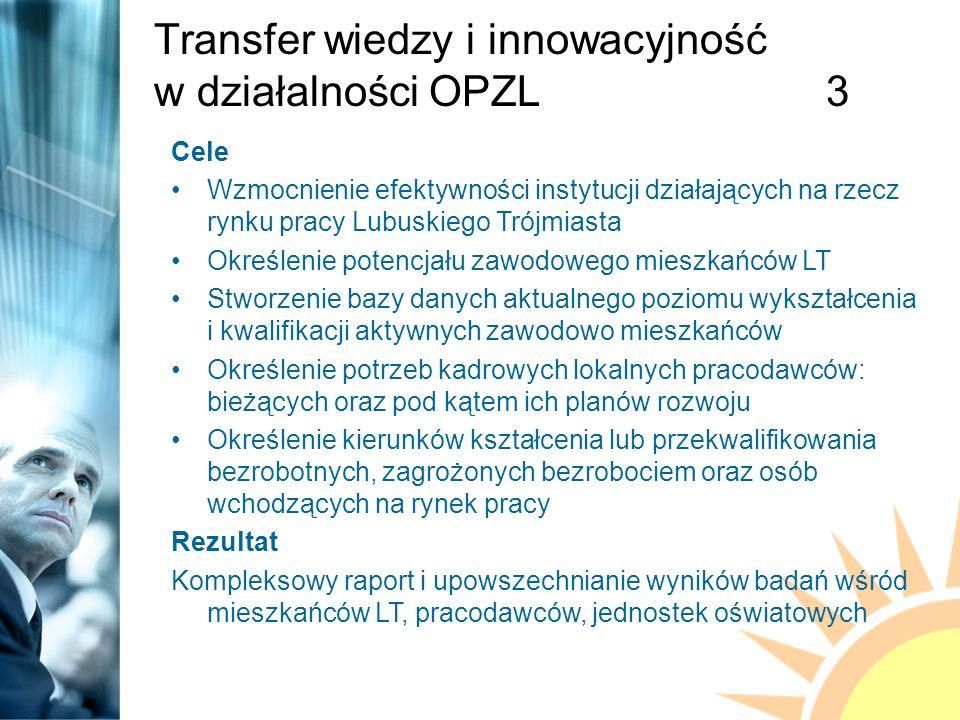 Transfer wiedzy i innowacyjność w działalności OPZL3 Cele Wzmocnienie efektywności instytucji działających na rzecz rynku pracy Lubuskiego Trójmiasta Określenie potencjału zawodowego mieszkańców LT Stworzenie bazy danych aktualnego poziomu wykształcenia i kwalifikacji aktywnych zawodowo mieszkańców Określenie potrzeb kadrowych lokalnych pracodawców: bieżących oraz pod kątem ich planów rozwoju Określenie kierunków kształcenia lub przekwalifikowania bezrobotnych, zagrożonych bezrobociem oraz osób wchodzących na rynek pracy Rezultat Kompleksowy raport i upowszechnianie wyników badań wśród mieszkańców LT, pracodawców, jednostek oświatowych