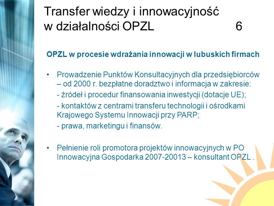 Transfer wiedzy i innowacyjność w działalności OPZL6 OPZL w procesie wdrażania innowacji w lubuskich firmach Prowadzenie Punktów Konsultacyjnych dla przedsiębiorców – od 2000 r.