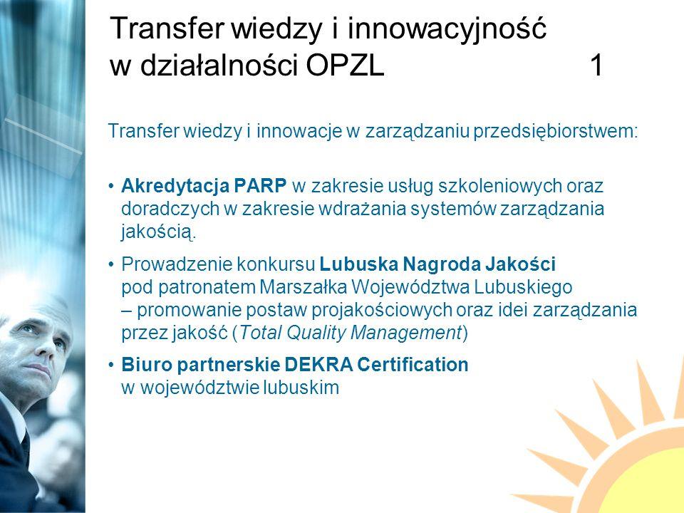 Transfer wiedzy i innowacyjność w działalności OPZL1 Transfer wiedzy i innowacje w zarządzaniu przedsiębiorstwem: Akredytacja PARP w zakresie usług szkoleniowych oraz doradczych w zakresie wdrażania systemów zarządzania jakością.