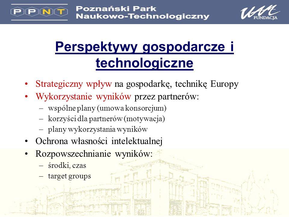 Perspektywy gospodarcze i technologiczne Strategiczny wpływ na gospodarkę, technikę Europy Wykorzystanie wyników przez partnerów: –wspólne plany (umow
