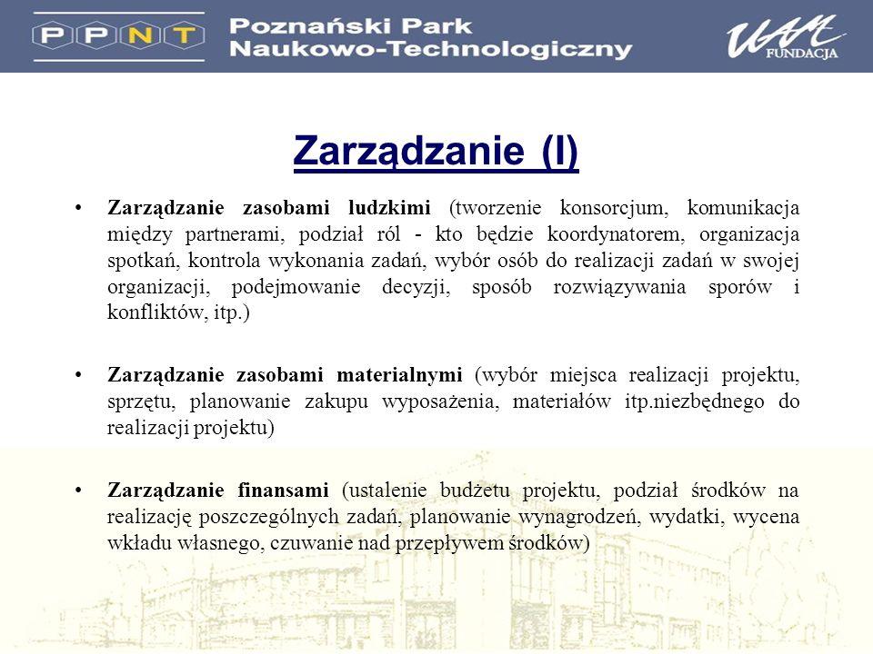 Zarządzanie (I) Zarządzanie zasobami ludzkimi (tworzenie konsorcjum, komunikacja między partnerami, podział ról - kto będzie koordynatorem, organizacj