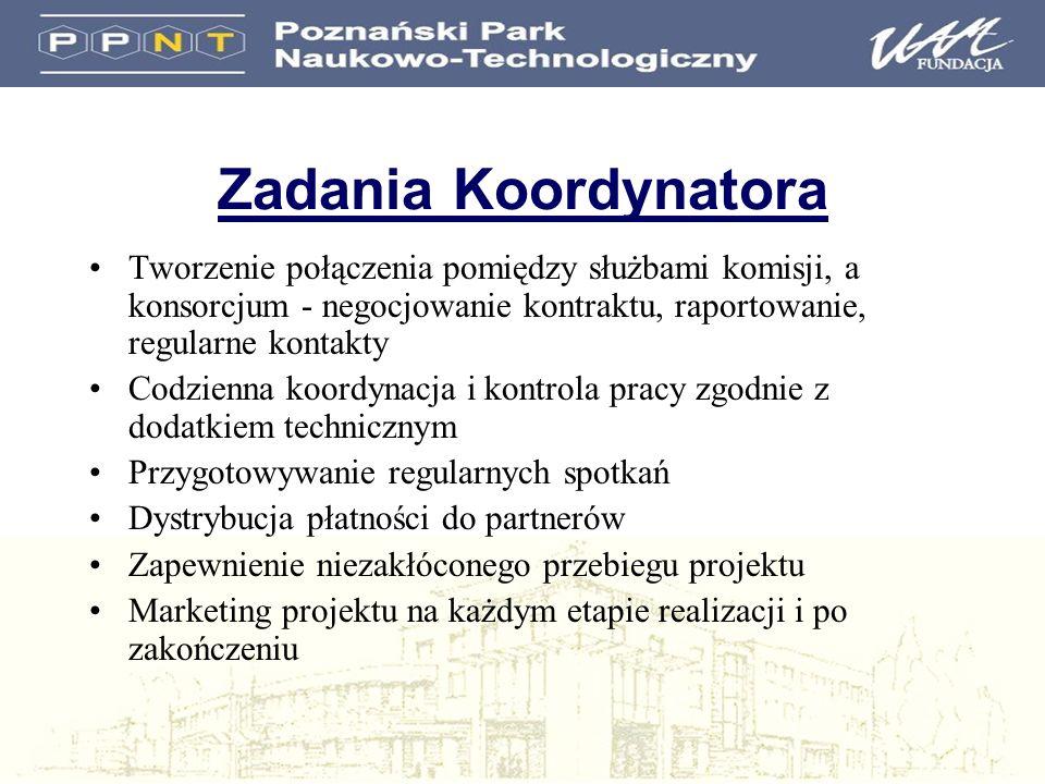 Zadania Koordynatora Tworzenie połączenia pomiędzy służbami komisji, a konsorcjum - negocjowanie kontraktu, raportowanie, regularne kontakty Codzienna