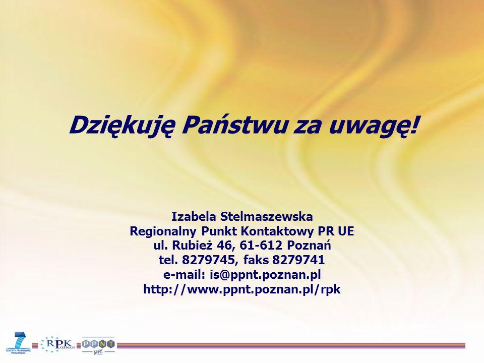 Dziękuję Państwu za uwagę. Izabela Stelmaszewska Regionalny Punkt Kontaktowy PR UE ul.