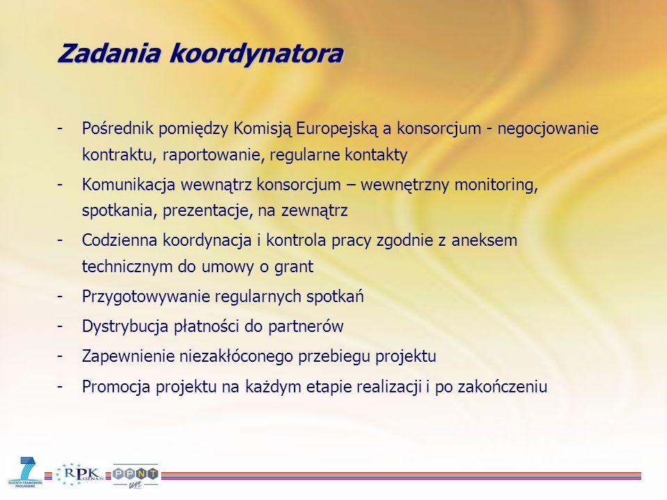 Zadania koordynatora -Pośrednik pomiędzy Komisją Europejską a konsorcjum - negocjowanie kontraktu, raportowanie, regularne kontakty -Komunikacja wewnątrz konsorcjum – wewnętrzny monitoring, spotkania, prezentacje, na zewnątrz -Codzienna koordynacja i kontrola pracy zgodnie z aneksem technicznym do umowy o grant -Przygotowywanie regularnych spotkań -Dystrybucja płatności do partnerów -Zapewnienie niezakłóconego przebiegu projektu -Promocja projektu na każdym etapie realizacji i po zakończeniu