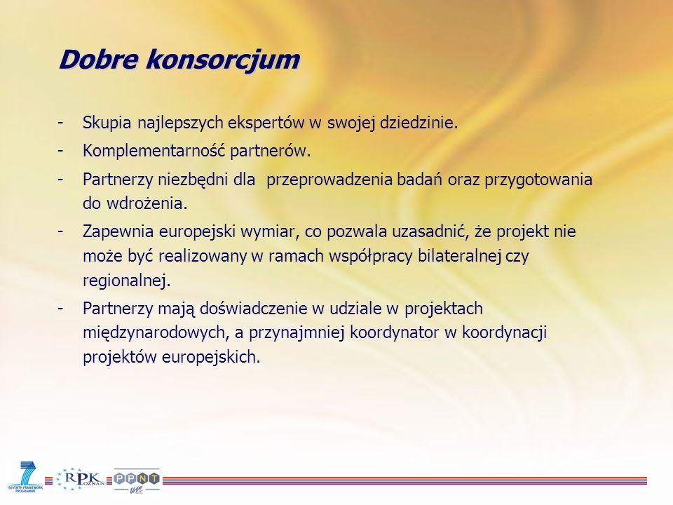 Dobre konsorcjum -Partnerzy realizują projekt wspólnie i przejmują obowiązki partnera, który się nie wywiązuje dopóki Komisja ich z tego obowiązku nie zwolni, -Nie ma zbiorowej odpowiedzialności finansowej, -Obowiązkowa jest umowa konsorcjum, chyba że call for proposals stanowi inaczej, -Możliwe są zmiany w konsorcjum