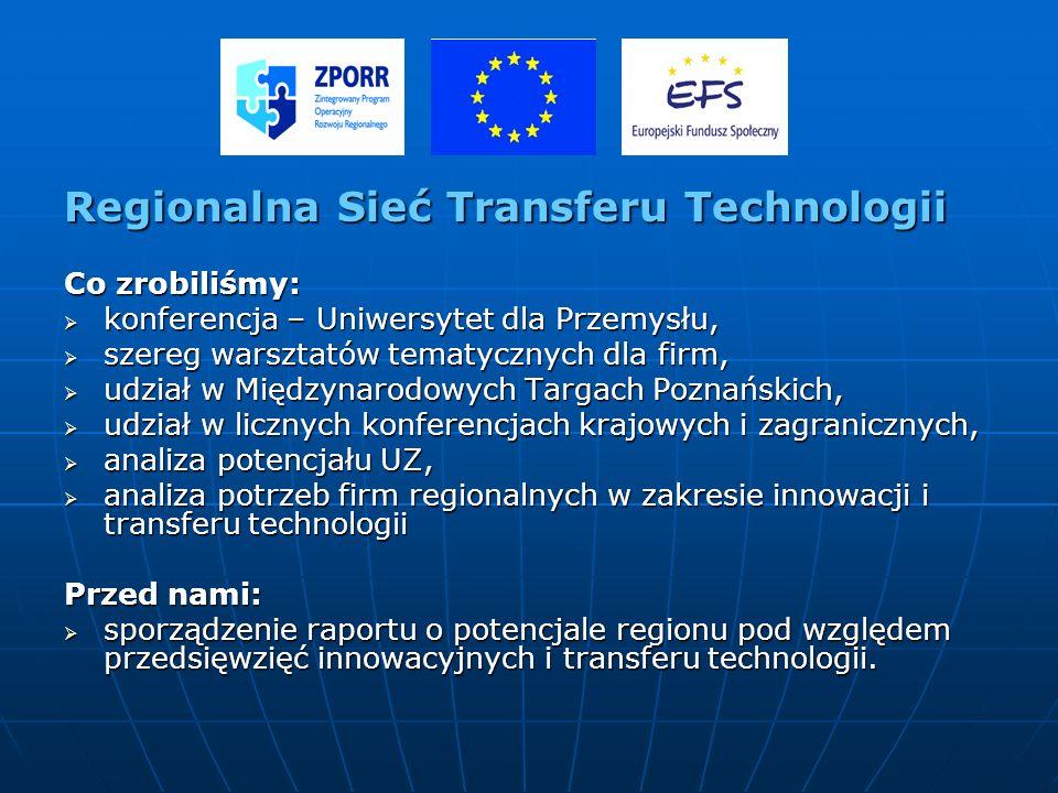 z Regionalna Sieć Transferu Technologii Co zrobiliśmy: konferencja – Uniwersytet dla Przemysłu, konferencja – Uniwersytet dla Przemysłu, szereg warszt