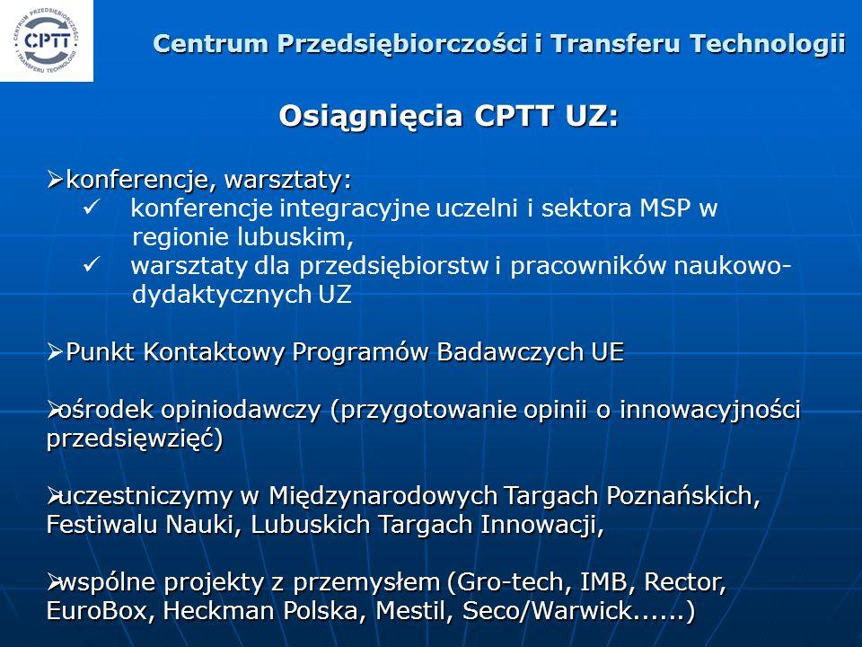 Osiągnięcia CPTT UZ: konferencje, warsztaty: konferencje, warsztaty: konferencje integracyjne uczelni i sektora MSP w regionie lubuskim, warsztaty dla