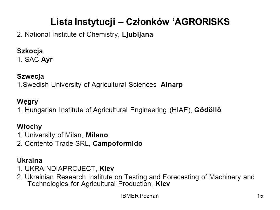 IBMER Poznań15 Lista Instytucji – Członków AGRORISKS 2. National Institute of Chemistry, Ljubljana Szkocja 1. SAC Ayr Szwecja 1.Swedish University of