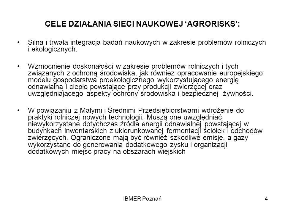 IBMER Poznań4 CELE DZIAŁANIA SIECI NAUKOWEJ AGRORISKS: Silna i trwała integracja badań naukowych w zakresie problemów rolniczych i ekologicznych. Wzmo