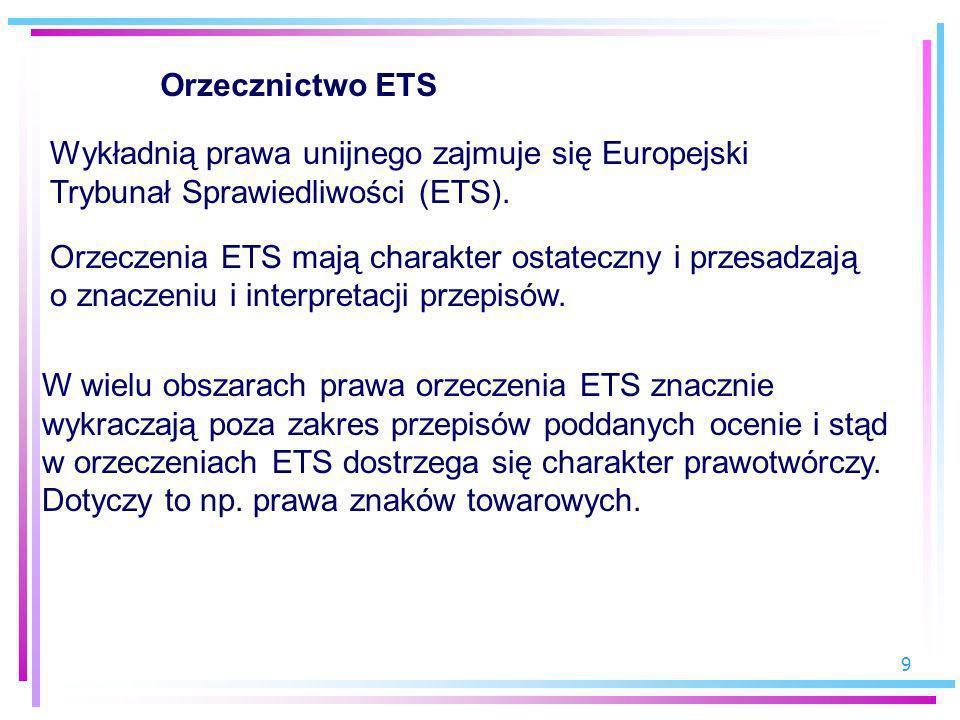 9 Orzecznictwo ETS Wykładnią prawa unijnego zajmuje się Europejski Trybunał Sprawiedliwości (ETS). Orzeczenia ETS mają charakter ostateczny i przesadz
