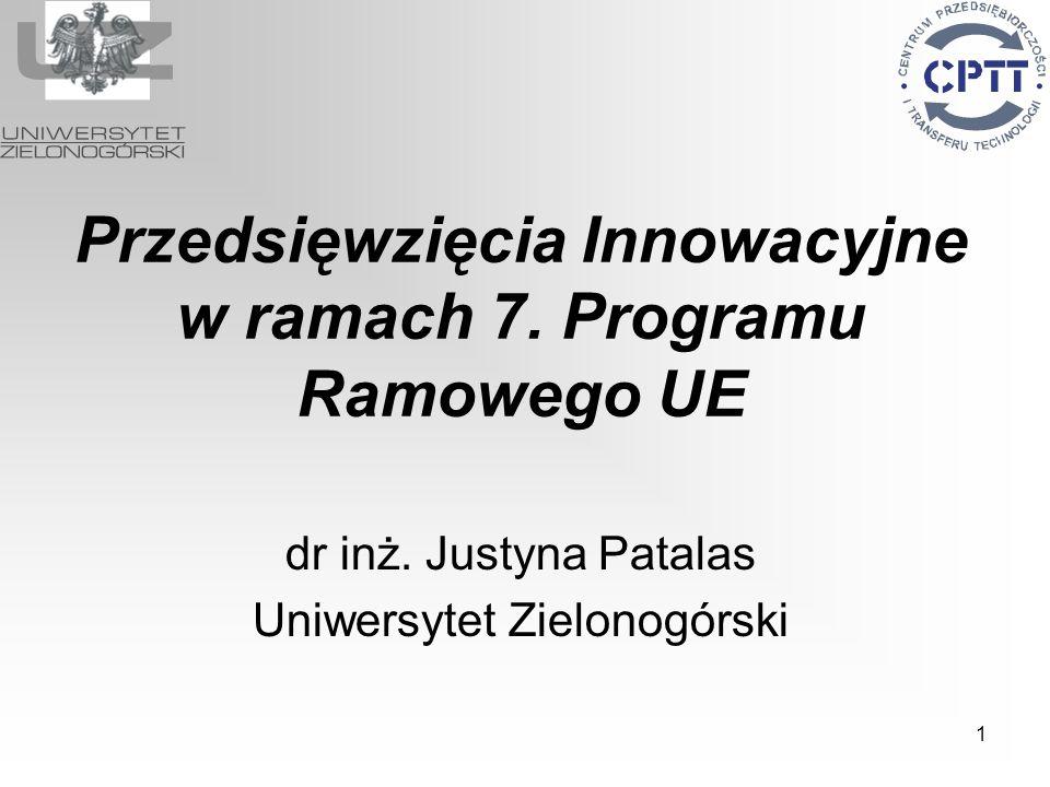 1 Przedsięwzięcia Innowacyjne w ramach 7. Programu Ramowego UE dr inż. Justyna Patalas Uniwersytet Zielonogórski