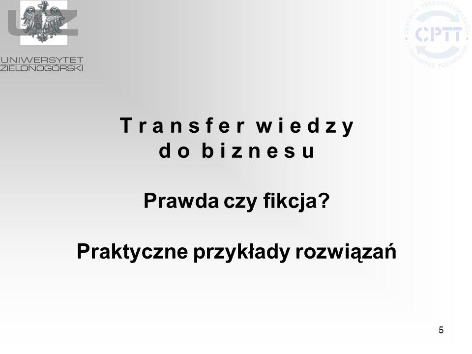 6 Projekt Standardy współpracy nauki z gospodarką w województwie lubuskim – promocja lubuskiej przedsiębiorczości umowa nr 8/DWI/KI/2007 programu Ministra pt.: Kreator innowacyjności – wsparcie innowacyjnej przedsiębiorczości akademickiej.