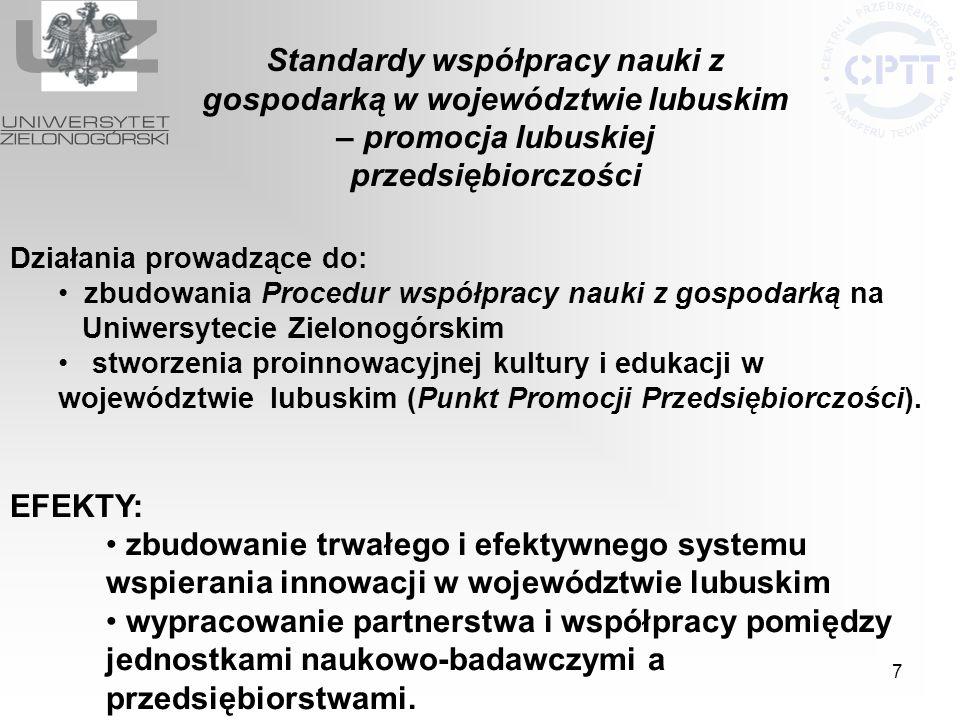 7 Działania prowadzące do: zbudowania Procedur współpracy nauki z gospodarką na Uniwersytecie Zielonogórskim stworzenia proinnowacyjnej kultury i eduk