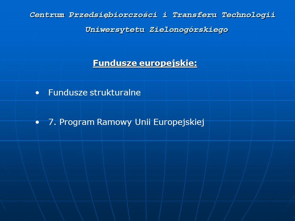 Uniwersytetu Zielonogórskiego Fundusze europejskie: Fundusze strukturalne 7.