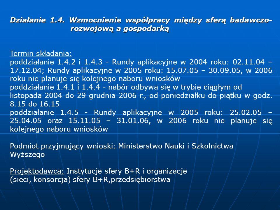 Działanie 2.2.1 Wsparcie dla przedsiębiorstw dokonujących nowych inwestycji Termin składania: Rundy aplikacyjne w 2004 roku: 01.02.04 – 29.02.04 oraz 01.06.04 – 30.06.04, Rundy aplikacyjne w 2005 roku: 01.01.05 – 31.01.05 oraz 01.06.05 – 30.06.05, Rundy aplikacyjne w 2006 roku: 02.01.06 – 31.01.06 oraz 01.06.06 – 30.06.06 Podmiot przyjmujący wnioski: Ministerstwo Gospodarki Departament Instrumentów Wsparcia Projektodawca: Przedsiębiorstwa prowadzące działalność gospodarczą na terenie Polski i dokonujące nowych inwestycji