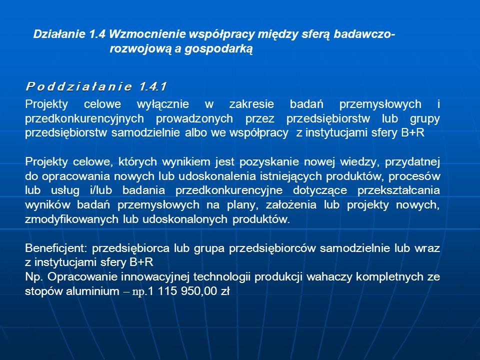 Działanie 1.4 Wzmocnienie współpracy między sferą badawczo- rozwojową a gospodarką P o d d z i a ł a n i e 1.4.1 Wniosek + załączniki: 1.