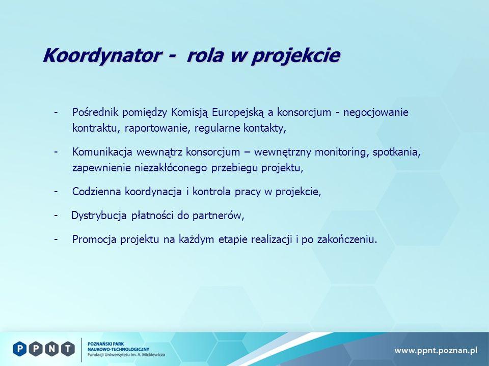 Koordynator - rola w projekcie -Pośrednik pomiędzy Komisją Europejską a konsorcjum - negocjowanie kontraktu, raportowanie, regularne kontakty, -Komunikacja wewnątrz konsorcjum – wewnętrzny monitoring, spotkania, zapewnienie niezakłóconego przebiegu projektu, -Codzienna koordynacja i kontrola pracy w projekcie, - Dystrybucja płatności do partnerów, -Promocja projektu na każdym etapie realizacji i po zakończeniu.