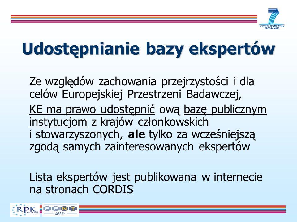 Udostępnianie bazy ekspertów Ze względów zachowania przejrzystości i dla celów Europejskiej Przestrzeni Badawczej, KE ma prawo udostępnić ową bazę publicznym instytucjom z krajów członkowskich i stowarzyszonych, ale tylko za wcześniejszą zgodą samych zainteresowanych ekspertów Lista ekspertów jest publikowana w internecie na stronach CORDIS