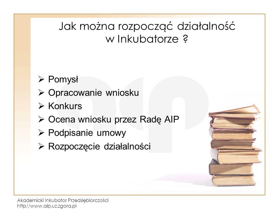 Akademicki Inkubator Przedsiębiorczości http//www.aip.uz.zgora.pl Jak można rozpocząć działalność w Inkubatorze ? Pomysł Opracowanie wniosku Konkurs O