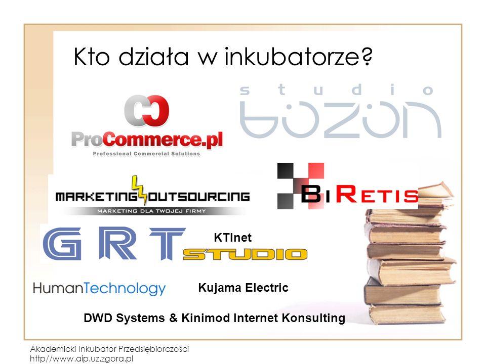Akademicki Inkubator Przedsiębiorczości http//www.aip.uz.zgora.pl Kto działa w inkubatorze? KTInet DWD Systems & Kinimod Internet Konsulting Kujama El
