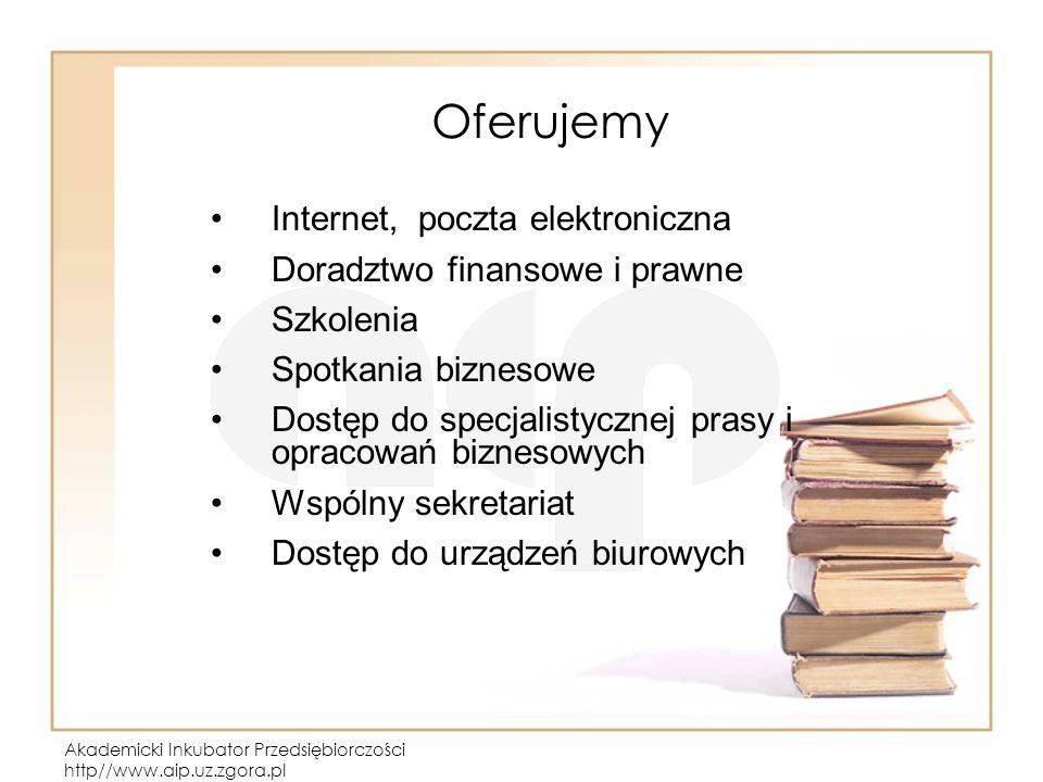 Akademicki Inkubator Przedsiębiorczości http//www.aip.uz.zgora.pl Oferujemy Internet, poczta elektroniczna Doradztwo finansowe i prawne Szkolenia Spot