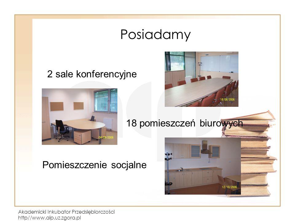 Akademicki Inkubator Przedsiębiorczości http//www.aip.uz.zgora.pl Posiadamy 2 sale konferencyjne 18 pomieszczeń biurowych Pomieszczenie socjalne
