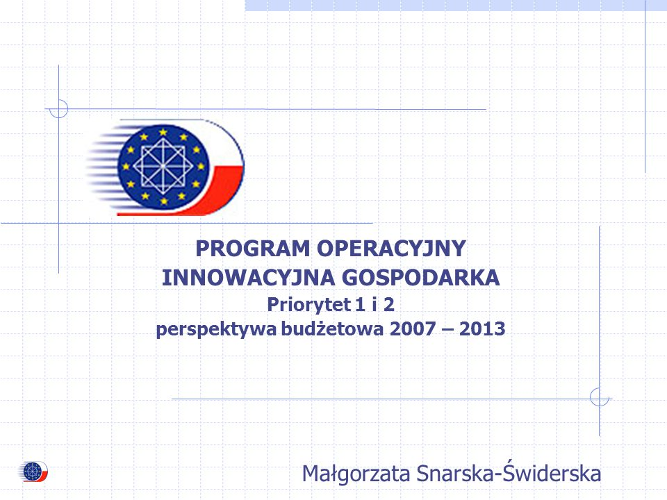 PROGRAM OPERACYJNY INNOWACYJNA GOSPODARKA Priorytet 1 i 2 perspektywa budżetowa 2007 – 2013 Małgorzata Snarska-Świderska