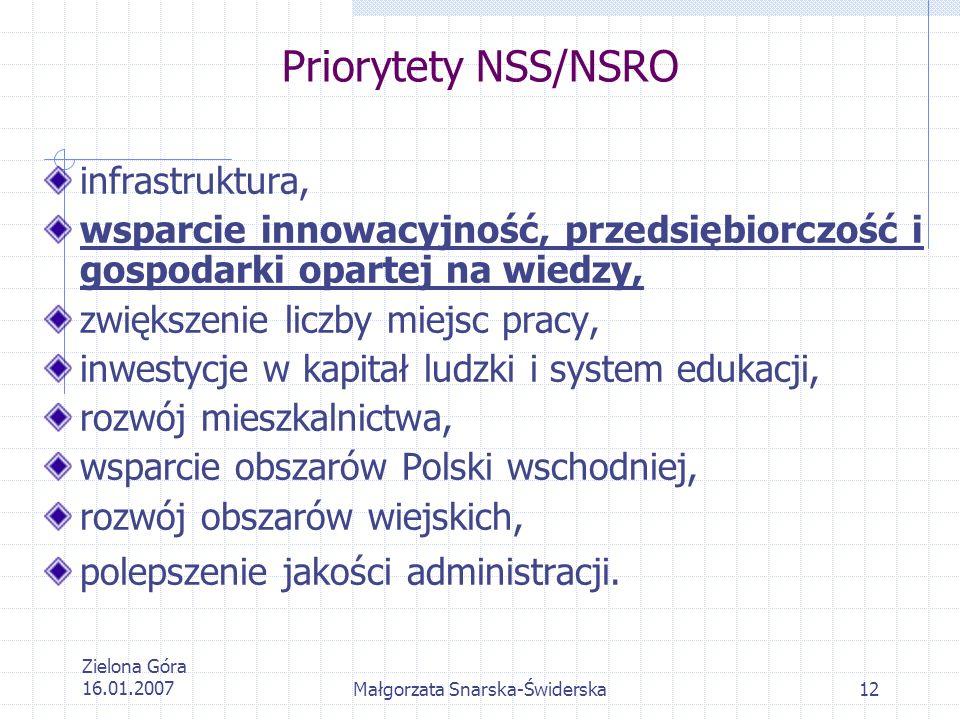 Zielona Góra 16.01.2007Małgorzata Snarska-Świderska12 Priorytety NSS/NSRO infrastruktura, wsparcie innowacyjność, przedsiębiorczość i gospodarki opart