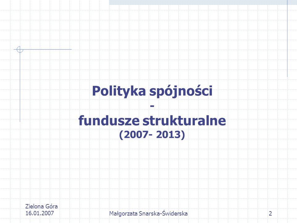 Zielona Góra 16.01.2007Małgorzata Snarska-Świderska13 Współfinansowanie Zgodnie z decyzją szczytu Rady Europejskiej w dn.