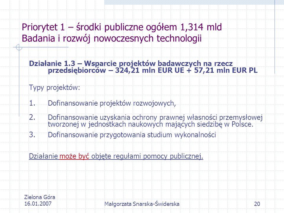 Zielona Góra 16.01.2007Małgorzata Snarska-Świderska20 Priorytet 1 – środki publiczne ogółem 1,314 mld Badania i rozwój nowoczesnych technologii Działa