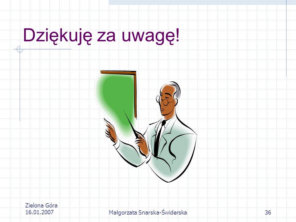 Zielona Góra 16.01.2007Małgorzata Snarska-Świderska36 Dziękuję za uwagę!