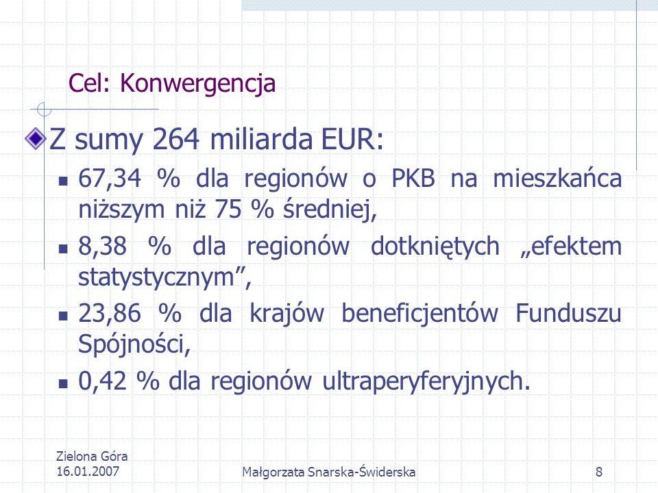 Zielona Góra 16.01.2007Małgorzata Snarska-Świderska8 Cel: Konwergencja Z sumy 264 miliarda EUR: 67,34 % dla regionów o PKB na mieszkańca niższym niż 7