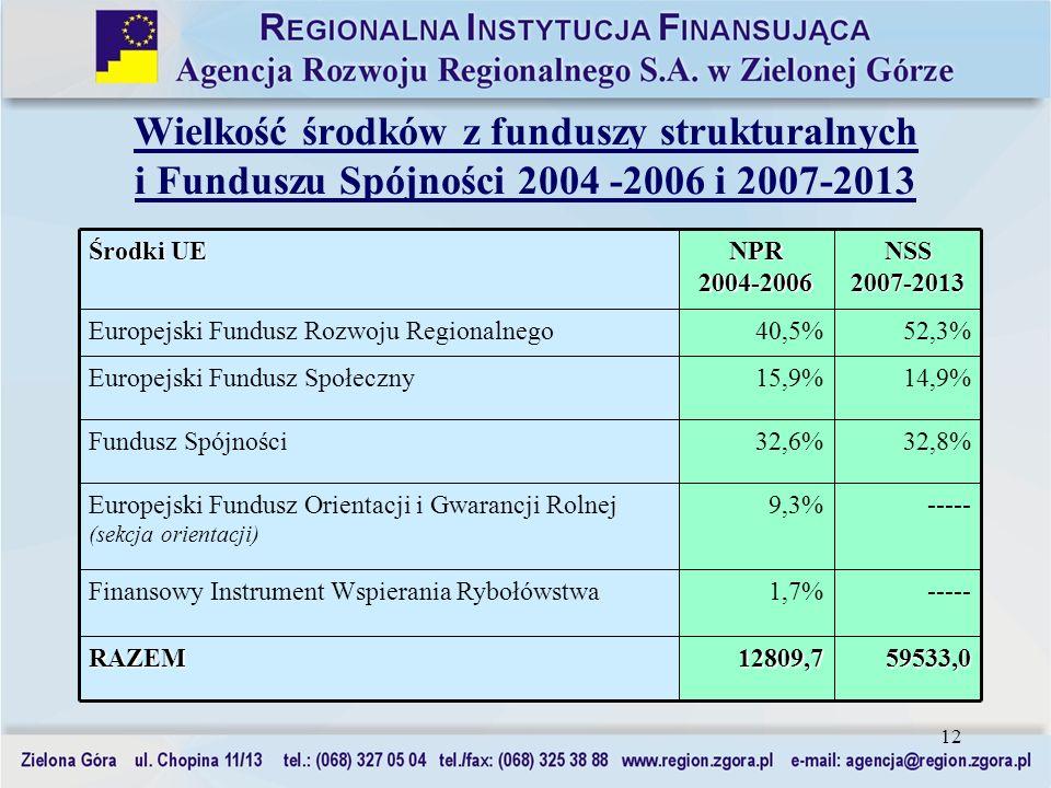 12 Wielkość środków z funduszy strukturalnych i Funduszu Spójności 2004 -2006 i 2007-2013 59533,0 ----- 32,8% 14,9% 52,3% NSS 2007-2013 12809,7RAZEM 1