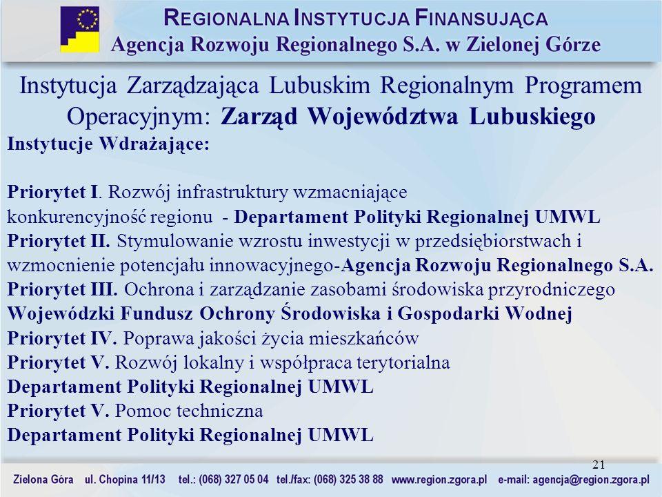21 Instytucja Zarządzająca Lubuskim Regionalnym Programem Operacyjnym: Zarząd Województwa Lubuskiego Instytucje Wdrażające: Priorytet I. Rozwój infras