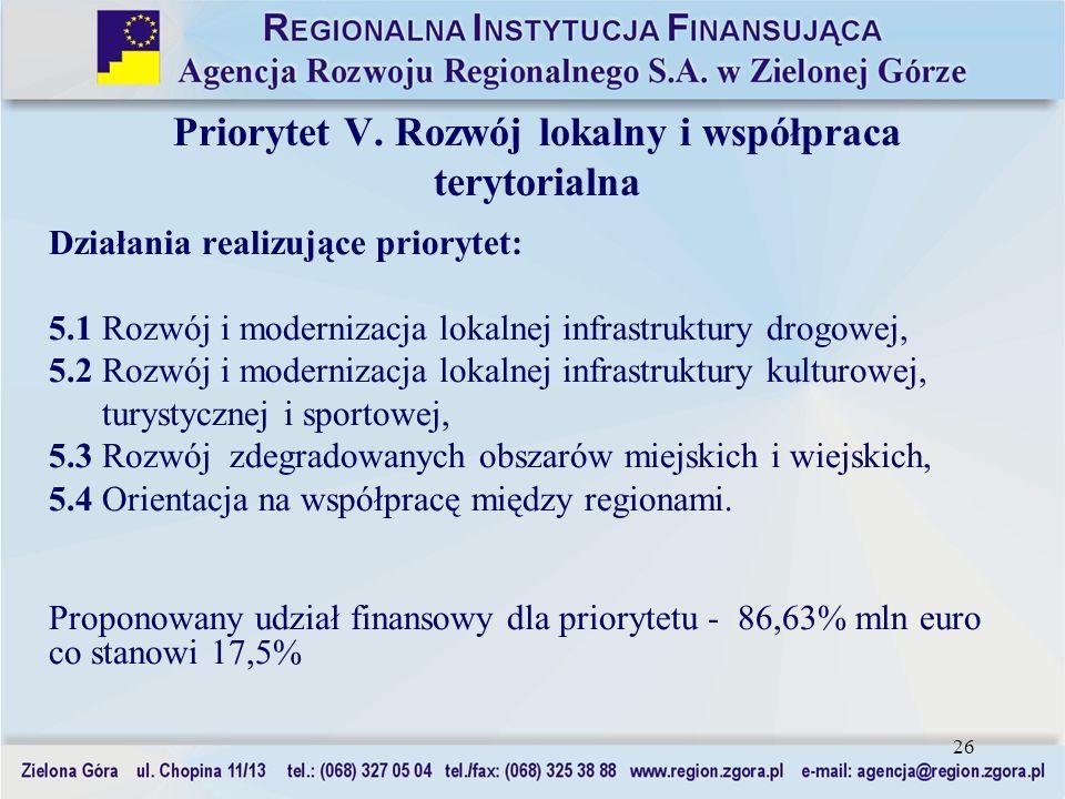 26 Priorytet V. Rozwój lokalny i współpraca terytorialna Działania realizujące priorytet: 5.1 Rozwój i modernizacja lokalnej infrastruktury drogowej,