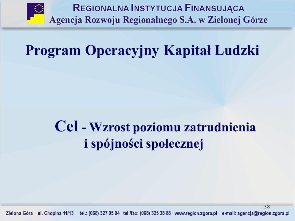 38 Program Operacyjny Kapitał Ludzki Cel - Wzrost poziomu zatrudnienia i spójności społecznej