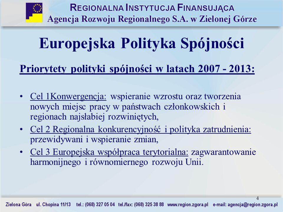 4 Europejska Polityka Spójności Priorytety polityki spójności w latach 2007 - 2013: Cel 1Konwergencja: wspieranie wzrostu oraz tworzenia nowych miejsc