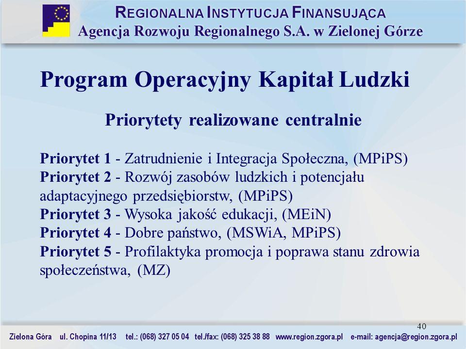 40 Program Operacyjny Kapitał Ludzki Priorytety realizowane centralnie Priorytet 1 - Zatrudnienie i Integracja Społeczna, (MPiPS) Priorytet 2 - Rozwój