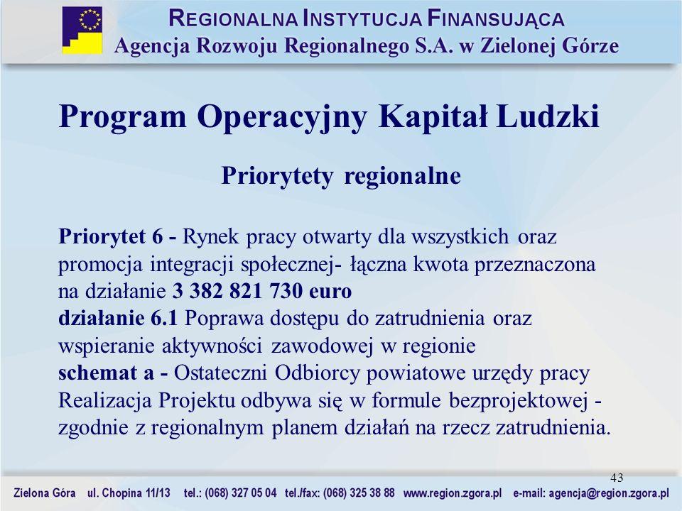 43 Program Operacyjny Kapitał Ludzki Priorytety regionalne Priorytet 6 - Rynek pracy otwarty dla wszystkich oraz promocja integracji społecznej- łączn