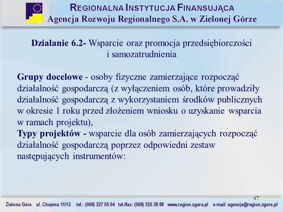 47 Działanie 6.2- Wsparcie oraz promocja przedsiębiorczości i samozatrudnienia Grupy docelowe - osoby fizyczne zamierzające rozpocząć działalność gosp