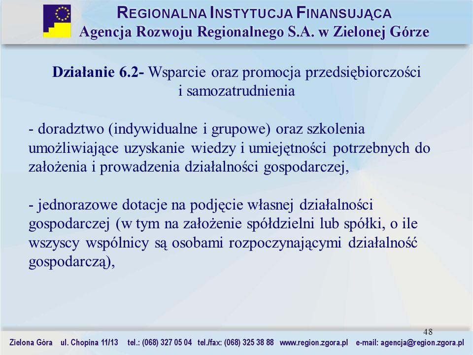 48 Działanie 6.2- Wsparcie oraz promocja przedsiębiorczości i samozatrudnienia - doradztwo (indywidualne i grupowe) oraz szkolenia umożliwiające uzysk