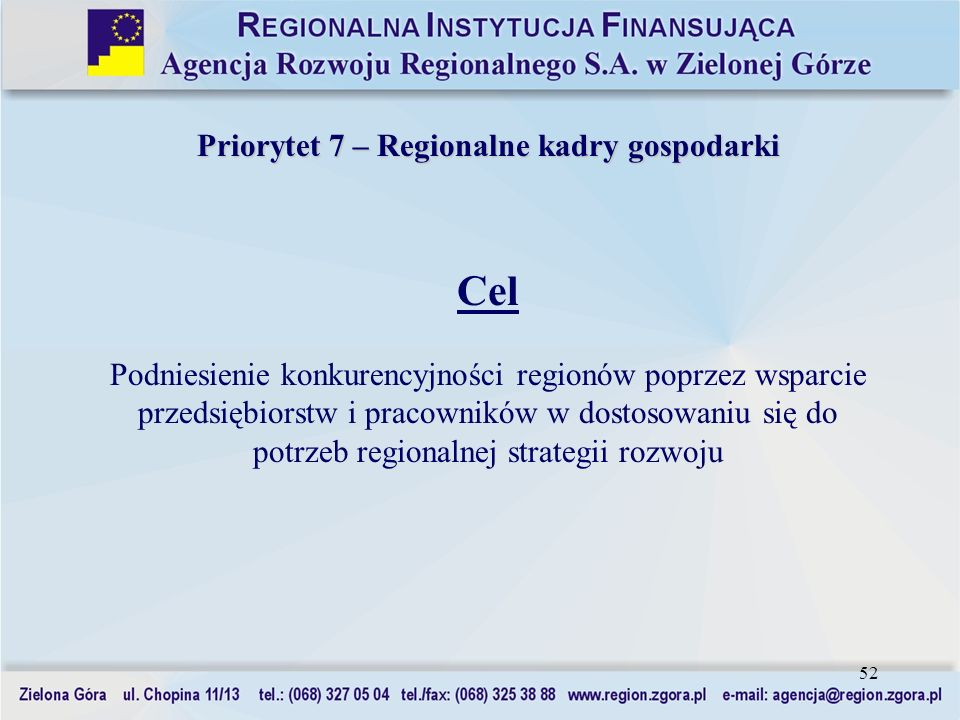 52 Priorytet 7 – Regionalne kadry gospodarki Cel Podniesienie konkurencyjności regionów poprzez wsparcie przedsiębiorstw i pracowników w dostosowaniu