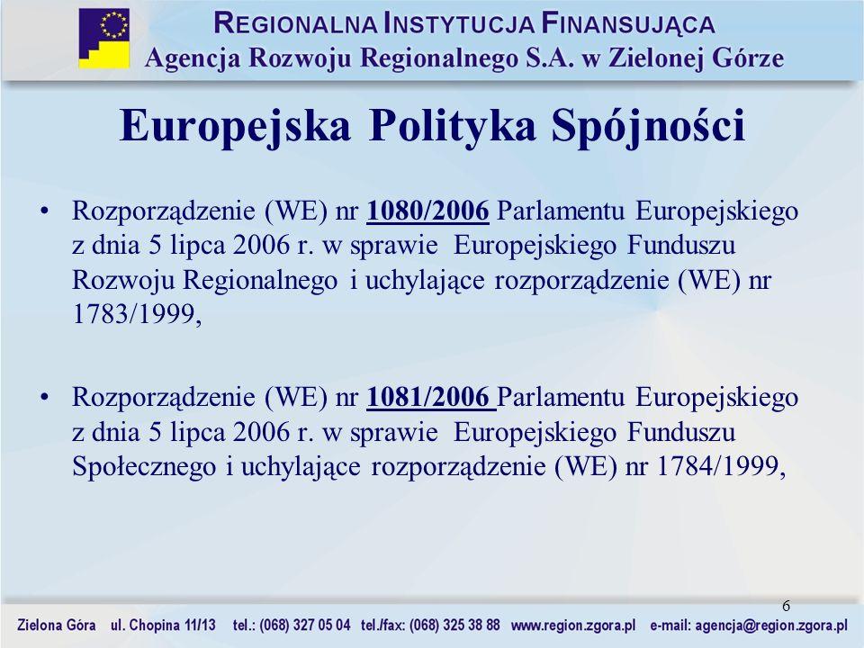 6 Europejska Polityka Spójności Rozporządzenie (WE) nr 1080/2006 Parlamentu Europejskiego z dnia 5 lipca 2006 r. w sprawie Europejskiego Funduszu Rozw