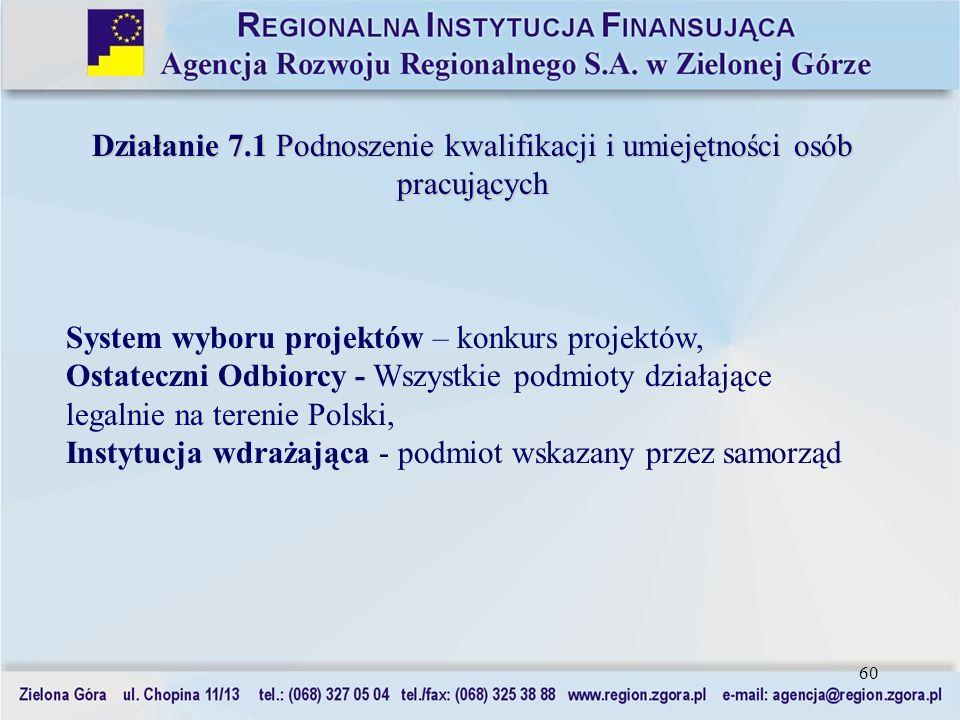 60 Działanie 7.1 Podnoszenie kwalifikacji i umiejętności osób pracujących System wyboru projektów – konkurs projektów, Ostateczni Odbiorcy - Wszystkie