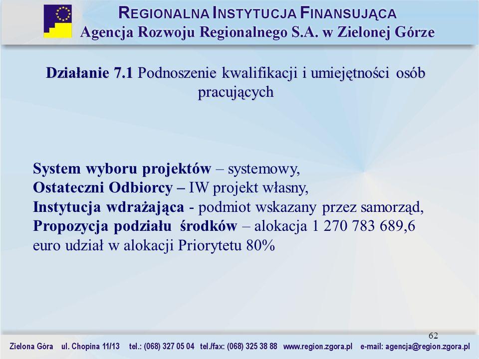 62 Działanie 7.1 Podnoszenie kwalifikacji i umiejętności osób pracujących System wyboru projektów – systemowy, Ostateczni Odbiorcy – IW projekt własny