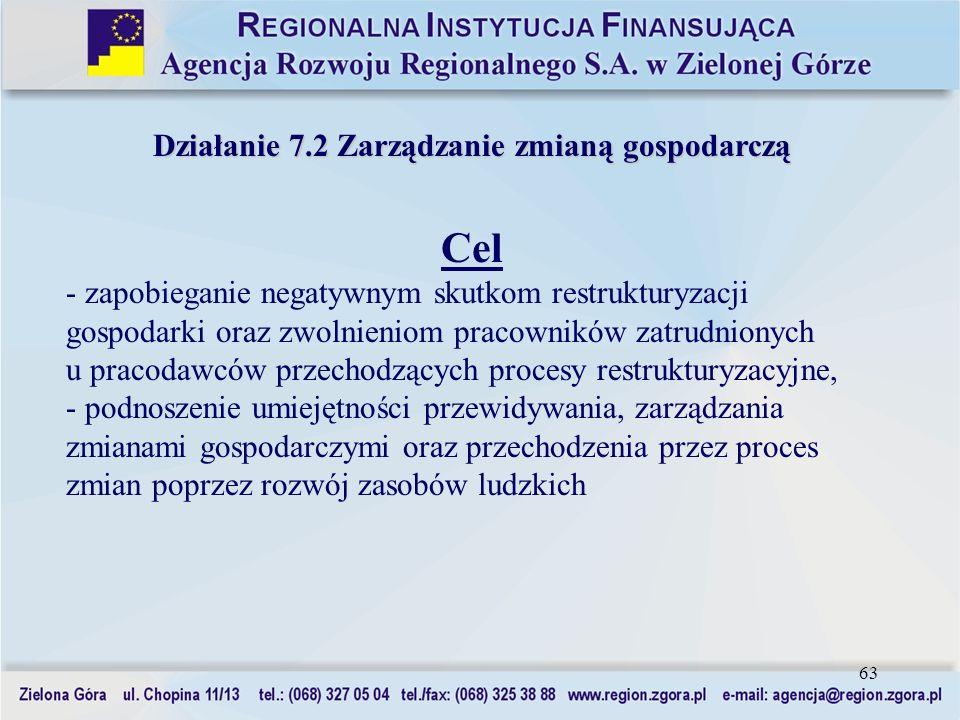 63 Działanie 7.2 Zarządzanie zmianą gospodarczą Cel - zapobieganie negatywnym skutkom restrukturyzacji gospodarki oraz zwolnieniom pracowników zatrudn