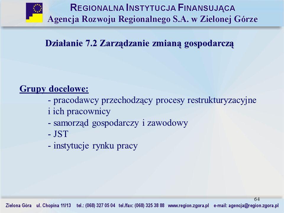 64 Działanie 7.2 Zarządzanie zmianą gospodarczą Grupy docelowe: - pracodawcy przechodzący procesy restrukturyzacyjne i ich pracownicy - samorząd gospo