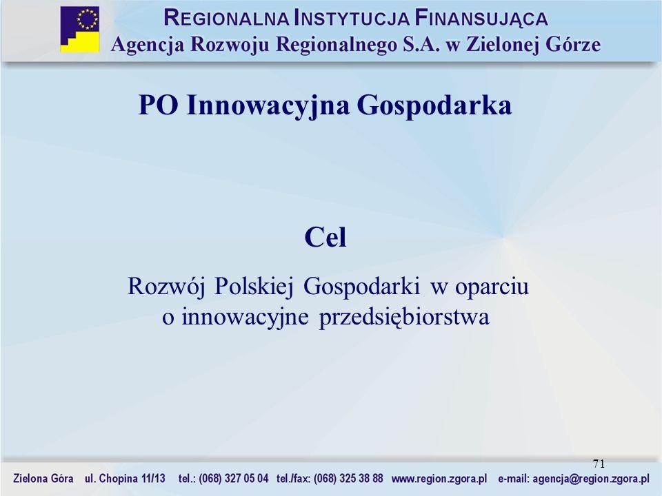 71 PO Innowacyjna Gospodarka Cel Rozwój Polskiej Gospodarki w oparciu o innowacyjne przedsiębiorstwa