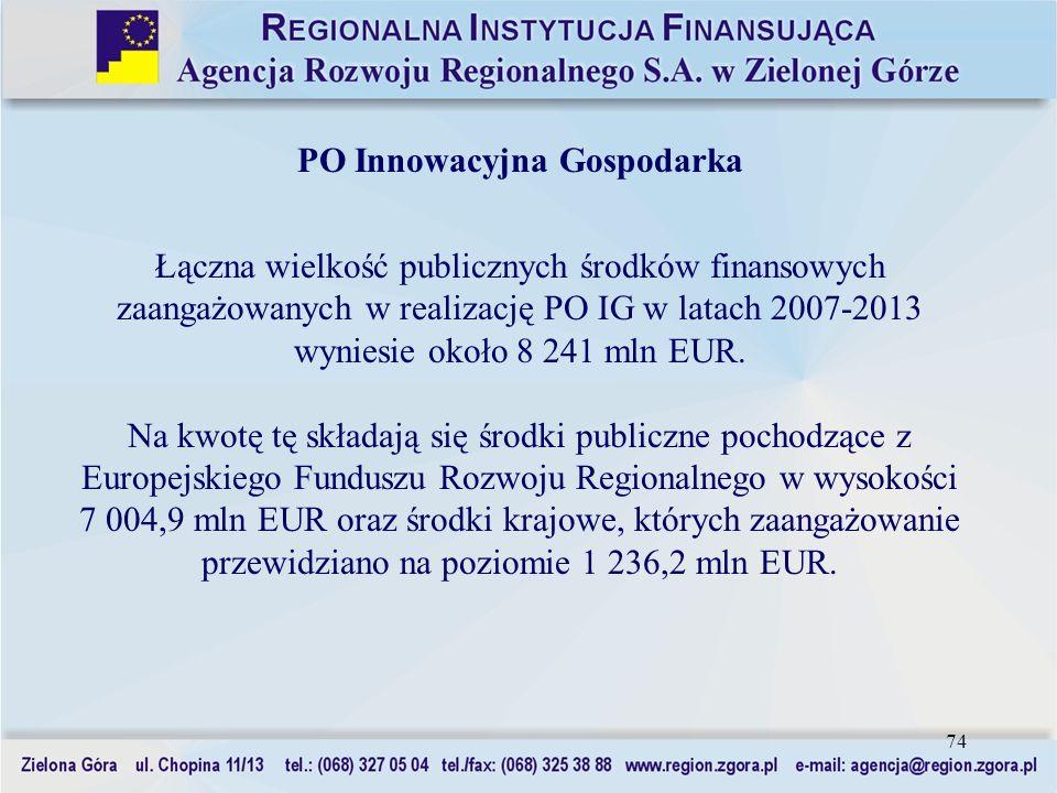 74 PO Innowacyjna Gospodarka Łączna wielkość publicznych środków finansowych zaangażowanych w realizację PO IG w latach 2007-2013 wyniesie około 8 241